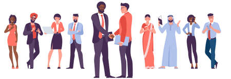 Diverse business people shake hands Vektorgrafik
