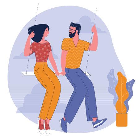 Romantic dating flat design vector concept. Ilustracja