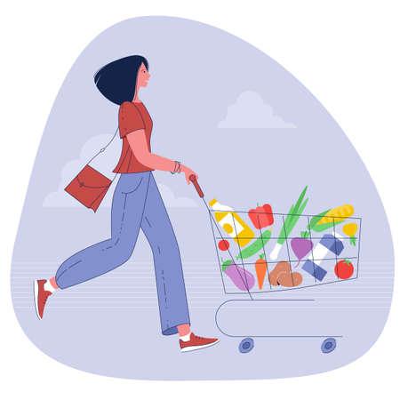 woman pushing supermarket shopping cart Ilustracja
