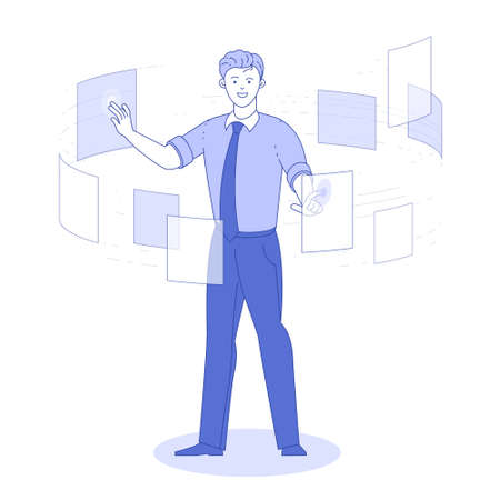 Document management data system vector concept.