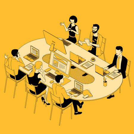 Teamwork effective cooperation vector concept.
