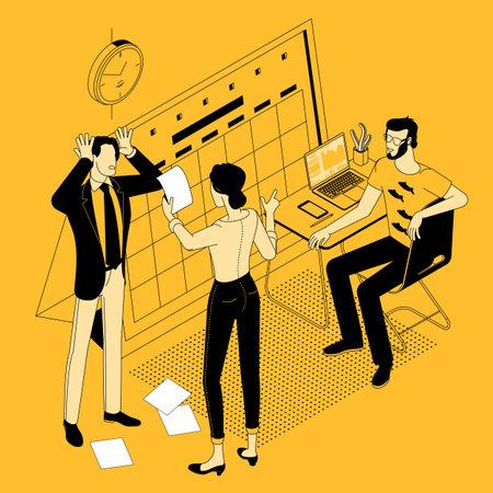 Stress in the office. Rush work. Deadline. Vector. Ilustracja