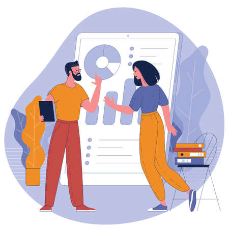 man and woman working with online business dashboard Ilustracja