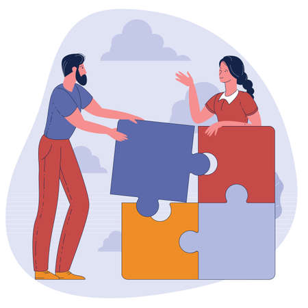 People connecting puzzle elements