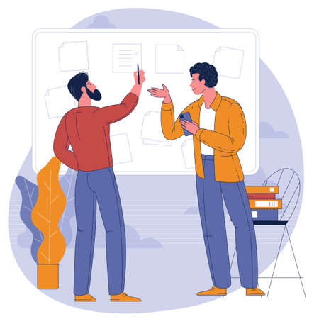 people working with business dashboard in office Ilustracja
