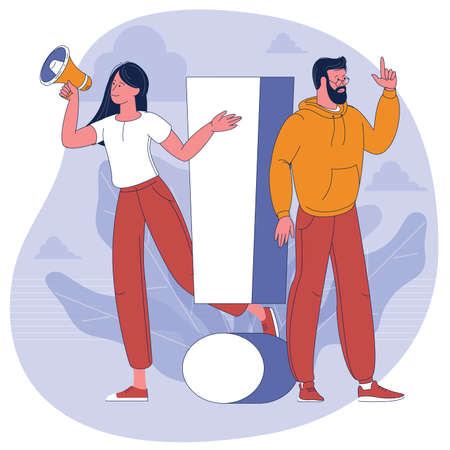 young man and woman with alert sign Ilustracja