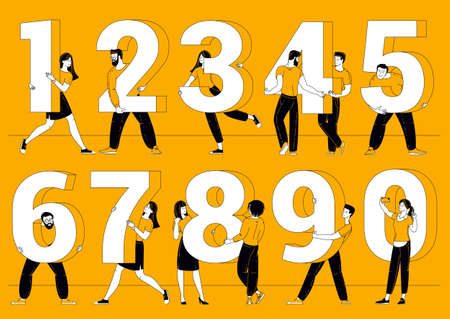 People are standing each holding a numbers