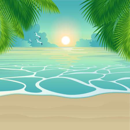 Bay, tropical beach. Vector background
