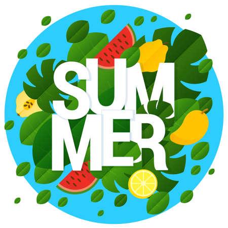Flat design vector summer template Ilustracja