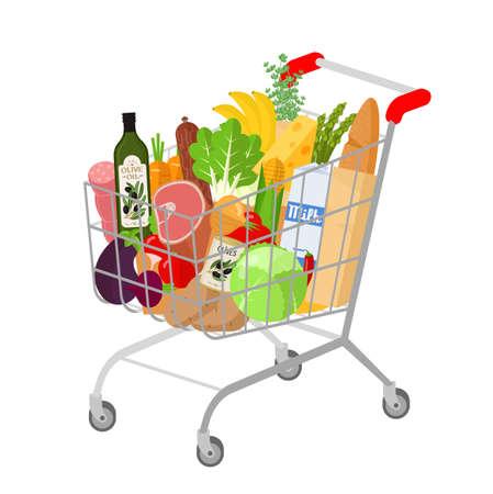 Full shopping supermarket cart.