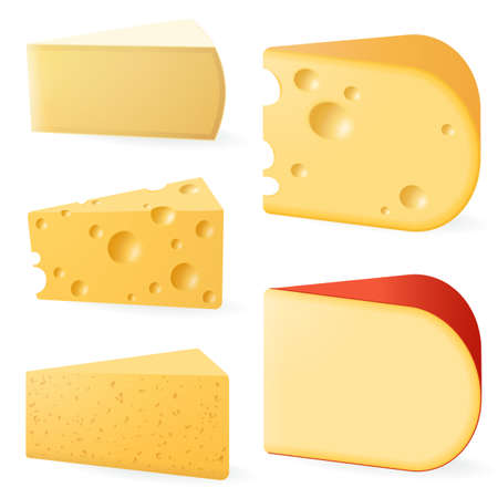 Various types of cheese. Vecteurs