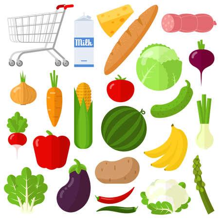 Flat design vegetable icon set