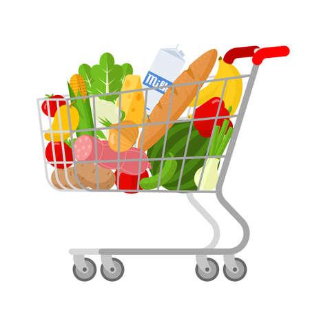 Full shopping supermarket cart. Ilustración de vector