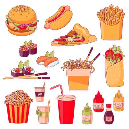 Fastfood menu dishes Vector Illustration