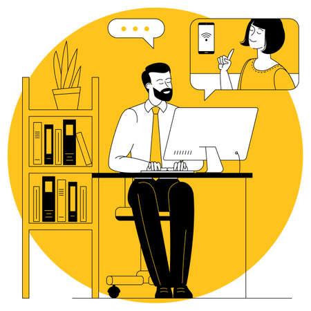 Video call vector concept Illustration