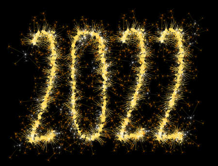 2022 sparkling burning golden numbers
