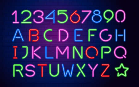 Neon letters and numbers. Illustration