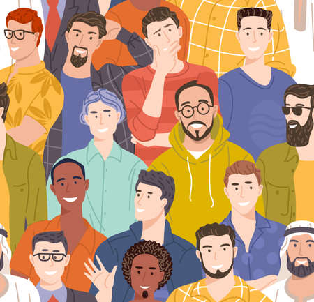Diverse male seamless vector.