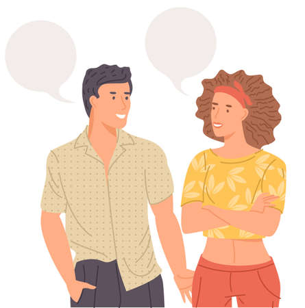 couple chatting with speech bubbles