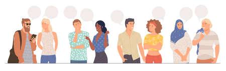 couples talking together Illustration