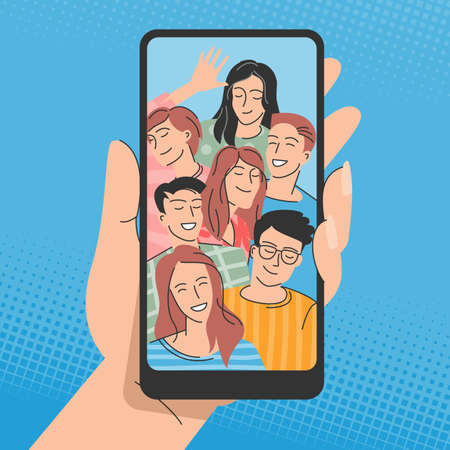 Young people posing for selfie Illustration