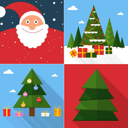 Christmas and Happy New Year greeting card set