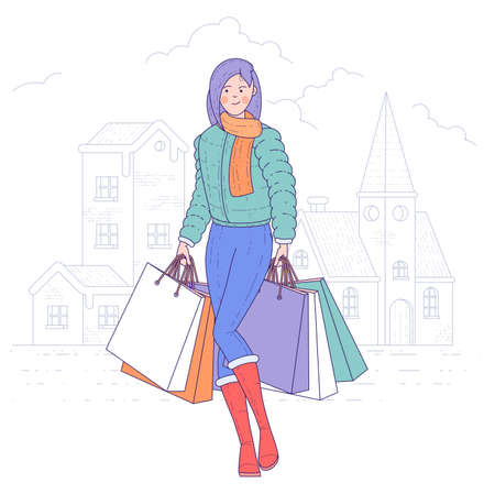 Shopping woman holding bags.