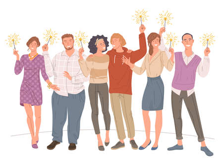 men and women with sparklers in hand