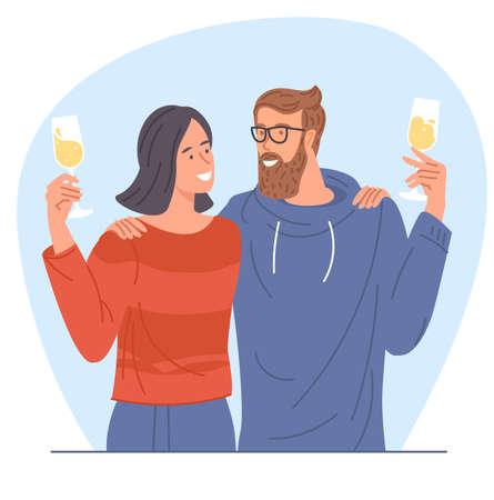 People holding champagne glasses Illustration