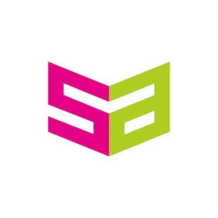 sa: sa s a square icon logo vector