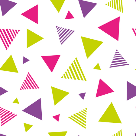 triangles seamless pattern in pink, purple and green with white background