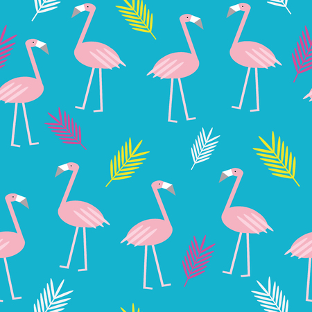 Colorful summer flamingo vector seamless repeat pattern with palm tree leaves on blue background. For your creative projects.