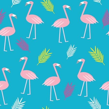 Kolorowe lato flamingo wektor bezszwowe powtórzyć wzór z liści palmy na niebieskim tle. Dla Twoich kreatywnych projektów. Ilustracje wektorowe
