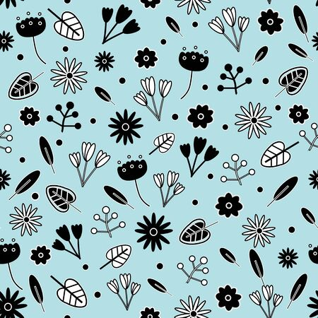 Cute floral vector seamless repeat pattern in black and white on pastel blue background. Lovely for all kinds of creative projects.