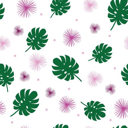 Vector feminine monstera leaves seamless pattern with pink and purple flowers on white background 向量圖像