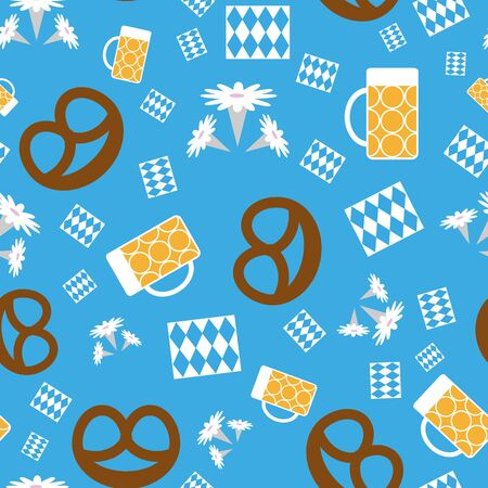 Vector Munich Oktoberfest floral seamless repeat pattern with beer, pretzels, edelweiss flowers and bavarian flag blue and white diamonds napkins. Beautiful for your next project.
