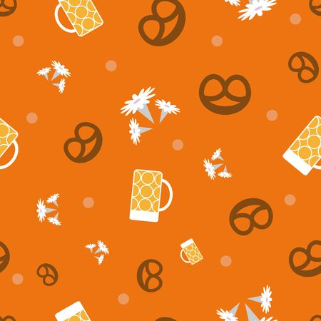 Oktoberfest Munich floral vector seamless repeat pattern in paper cut style with beer glasses, pretzels, edelweiss flowers and dots on orange brown background. Perfect for your next project.