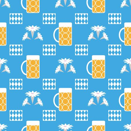 Vector floral munich oktoberfest germany seamless repeat pattern with beer glasses, edelweiss flowers and blue and white bavarian diamond flag napkins. Perfect for your next project.
