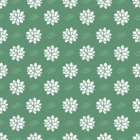 Vector floral seamless repeat pattern with succulents in white in paper cut style on green background with pastel green dots. Beautiful for your creative project.