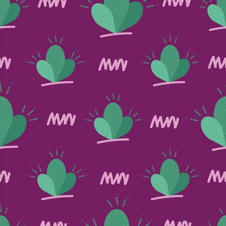 Vector happy 80s style cactus seamless repeat pattern in pastel green shades with dots and doodles, scribbles in light pink and green on dark purple background. Perfect for your next project.