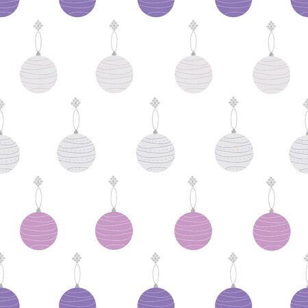 Geometric christmas baubles pastel elegant seamless repeat pattern in purple and pink with dots on white background. Beautiful for your next project. Stock Illustratie