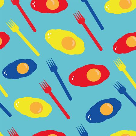 Vector stylized eye-catching colorful food seamless repeat pattern with motifs sunnyside up eggs and forks on blue background in clean style. Perfect for your next project.