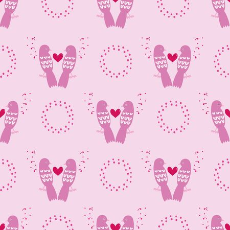 Beautiful pink Valentines Day feminie vector seamless repeat pattern with lovely birds, hearts, rings and dots. Perfect for your next project.