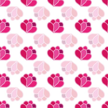 Beautiful feminine floral abstract seamless repeat pattern with flowers in pink and purple shades and transparency on white background. Perfect for your next project.