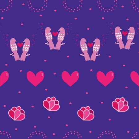 Beautiful Valentines Day pink feminine seamless repeat pattern with hearts, flowers, cute birds and dots on dark purple background. For your creative project.