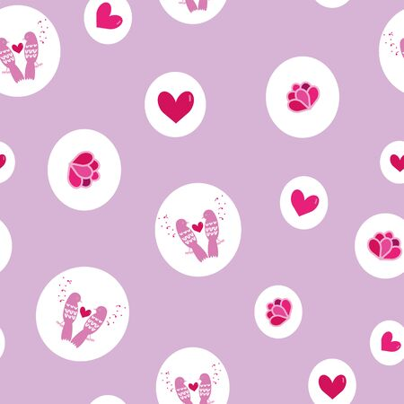 Cute pink vector birds, hearts and flowers seamless repeat pattern in white circles on pink purple background. Lovely for Valentines Day, greeting cards, gift wrapping paper and more. Stock Illustratie