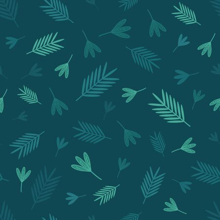 tropical leaves vector seamless pattern in green shades in paper cut style with some doodles on dark green background. Beautiful monochrome pattern for your creative project.
