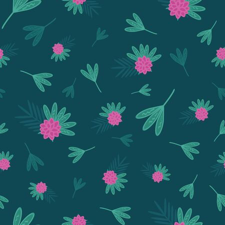 Tropical vector seamless repeat pattern with pink flowers and green leaves in different shades in paper cut style with little scribbles on dark green background. Beautiful for all kinds of creative projects.