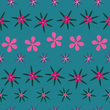 Vector modern abstract tropical flowers and leaves seamless repeat pattern in pink shades on turquoise blue background in paper cut style