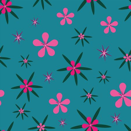 vector modern abstract floral pink paradise hibiscus flowers and leaves seamless repeat pattern on blue background in clean style Ilustração